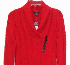 Chaps by Ralph Lauren Solid Rich Red Shawl Collar Cable Knit Sweater XS 2 - $49.99