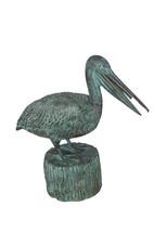 """Pelican on a Tree Stump fountain bronze statue -  Size: 30""""L x 16""""W x 46""""H. - $990.00"""