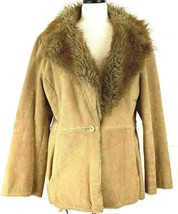 St Johns Bay Leather Coat Size XL Suede Beige Jacket Lined Faux Fur Coll... - $29.65