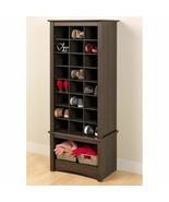 Espresso Finish Tall Shoe Cabinet Wooden Storage Cubbie Entryway Organiz... - $196.91