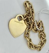"""Tiffany&co Tiffany Coeur Étiquette Bracelet à Breloque 18K or Jaune 7.75 """" Pouce - $2,303.00"""