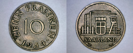 1954 Saarland 10 Franken World Coin - $14.99