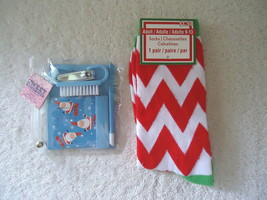 "Lot Of 2 "" NWT "" Christmas Stocking Stuffers,1,Manicure Set,1,Pair Of Socks - $8.59"