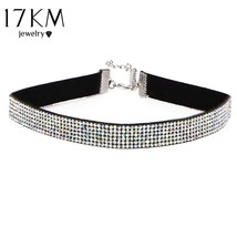 17KM Simple Fashion Crystal Choker Long Necklace for Women Gold Color Pu... - $5.62