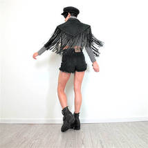 QASTAN Women's New Long Capelet Black Fringe Tassel Studded Leather Jacket WWJ74 image 3