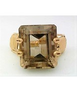 Faceted Smoky Quartz Gold Wire Wrap Ring sz 9 - $43.00