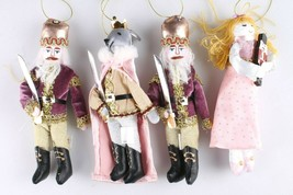 4ct Enchanted Eve Fabric Royal Characters Christmas Ornament Set Wondershop NEW