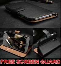 Luxury Genuine Real Leather Flip Case Wallet Cover Samsung Galaxy Models Cell - $12.85