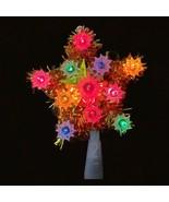 Vintage Mini star 11 Light GOLD Tinsel Star Tree Topper  - $19.79