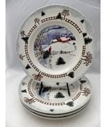 Tienshan Folkcraft Winterside pattern - set/lot of 4 Dinner Plates - 199... - $19.31