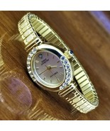 New Womens Sarah Coventry Diamond Accent Gold Hex Embossed Stretch Band ... - $29.95