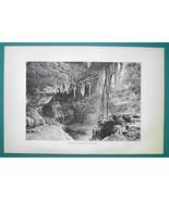 MEXICO Cenote Caverns in Yucatan Valladolid - 1891 Antique Print Engraving - $20.25