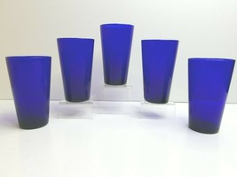 "5 Libbey Cobalt Blue Teardrop 5 3/4"" VTG 12 Oz Tapered Glass Retro Flat Tumblers - $43.23"