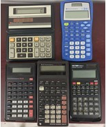 Lot of 5 Working Calculators: Texas Instruments,  Technico , Victor - $9.50