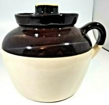 Vintage Bean Pot Ceramic Stoneware Crock Brown One Loop Handle Lid USA 8... - $34.65
