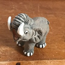LEPS Marked Gray Pottery Small Elephant w Tusks Figurine – 2 and 1/8th's... - $12.19