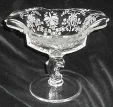 Heisey Glass Etched Orchid #1507 Waverly Blank #1519 Dolphin Stem Compote - $47.51