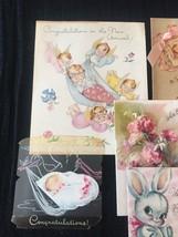 Set of 8 Vintage 40s illustrated Birth/Baby card art (Set D) image 2