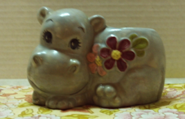 Vintage Hand Painted Ceramic HIPPO Planter // Catch-all // Nursery Decor - ₹790.24 INR