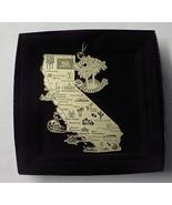 California Dreaming Brass Large State Landmarks Ornament Black Leatheret... - $24.95