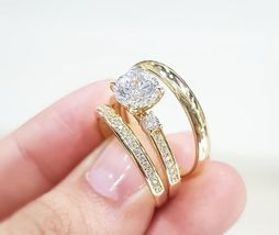 14K Yellow Gold Plated 2Ct Round Sim Diamond His-Her Trio Wedding Ring Set  - $99.99