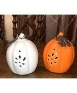 PUMPKINS Orange and White  set of 2 HALLOWEEN 4 inches tall FALL DECOR - £17.43 GBP