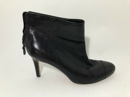 Ann Taylor Black Leather High Heel Low Bootie With Snakeskin Accents Boo... - $28.89