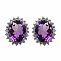 Stud Amethyst & Cubic Zirconia 925 Sterling Silver Earring Jewelry SHER1055 - $16.75