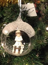 Christmas Ornament Victorian Girl On Sled In Glass Dome - $16.78