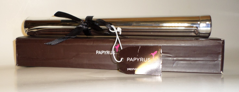 Papyrus Birth Certificate Diploma Keepsake Holder silver tone engrave gift box