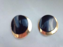 Vintage Napier Pierced Earrings Black Gold Metal Circle on Circle - $11.76