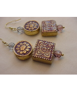 Unique Creations/Ozarks Purple/Gold Floral Aztec Tiles Drop Earrings - $18.00