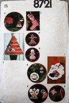 SIMPLICITY 8721 VINTAGE CHRISTMAS ORNAMENTS, STOCKING, CARD HOLDER, & WA... - $15.68