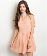 Lola Blush Sleeveless Dress Polkadot Bow Back Design Size-Medium   (d15) - $30.83