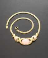Glamorous Vintage Trifari TM Pink Moonglow Cabochon Necklace, Xs and Os - $125.00