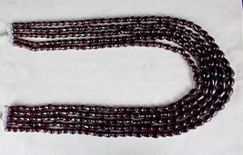 5 LINE 1057 CARATS NATURAL GARNET FANCY GEMSTONE LADIES BEADS NECKLACE image 4