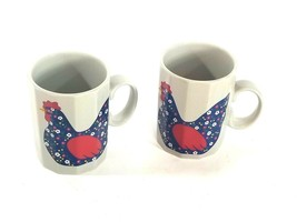 Gray Floral Hens Chicken Coffee Cup Mug Set Pair Vintage Otagiri Japan - $28.60