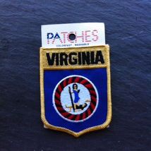 Virginia State Shield Patch Embroidered New Old Stock~Souvenir Patch - $8.97