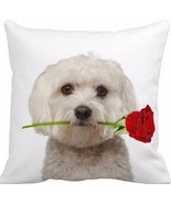 Stylish Maltese With A Rose 16-Inch Accent Throw Pillow Bedroom Decor New - $27.34