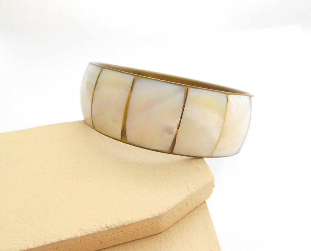 Vintage Mother Of Pearl Inlay Over Brass Wide Chunky Bangle Bracelet MM3 image 2