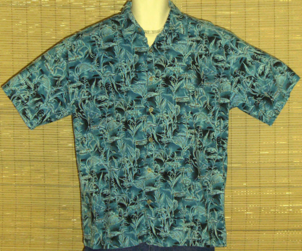 Aftco Bluewater Wear Hawaiian Shirt Turquoise Black Fish Floral Size Medium