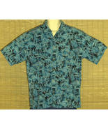 Aftco Bluewater Wear Hawaiian Shirt Turquoise Black Fish Floral Size Medium - $21.95