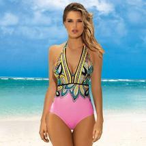Women's Designer V- Neck Tummy Control Halter One Piece Swimsuit image 7