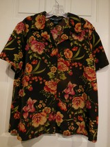 Susan Graver Womans Hawaiian Floral Blouse Size Large 100% Polyester - $14.73