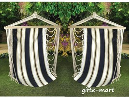 2 White Blue nautical striped Hammock sling Chair patio porch hanging seat - $58.19