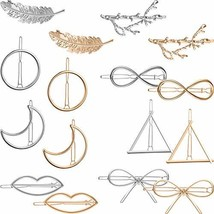 16 Pieces Gold Metal Leaf Hair Clips Minimalist Hair Barrettes Bobby Pins for Wo