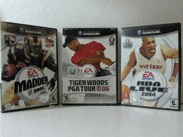 Nintendo Game Cube Madden 2003 + Tiger Woods PGA 06 + NBA Live 2004 Game... - $15.99