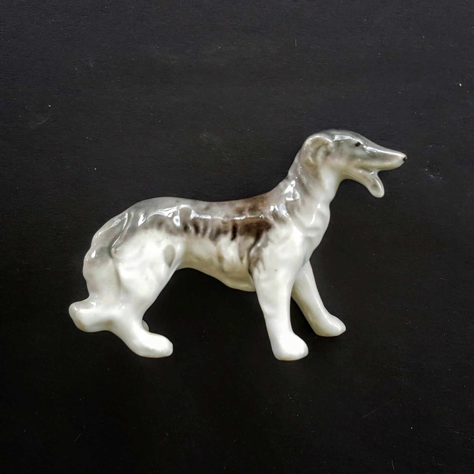 "Primary image for Russian Wolfhound Dog Figurine 3"" Ceramic Porcelain Borzoi 1950s VTG Deerhound"