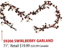 "Home Interiors Seasonal Swirlberry Garland 71"" Ea. LAST 1! NEW HOMCO HIG... - $19.79"