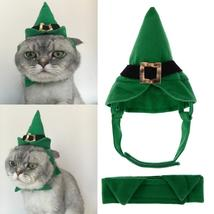 (01 size M)Green Cap Hat + Bow Tie Set For Cats Dogs Christmas Style Dog... - $18.00